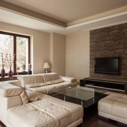 Travertine house: Soft and comfortable sofa in living room